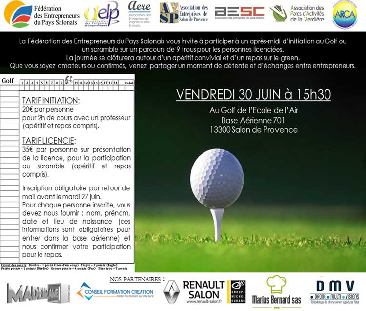 Invitation initiation ou scramble Golf