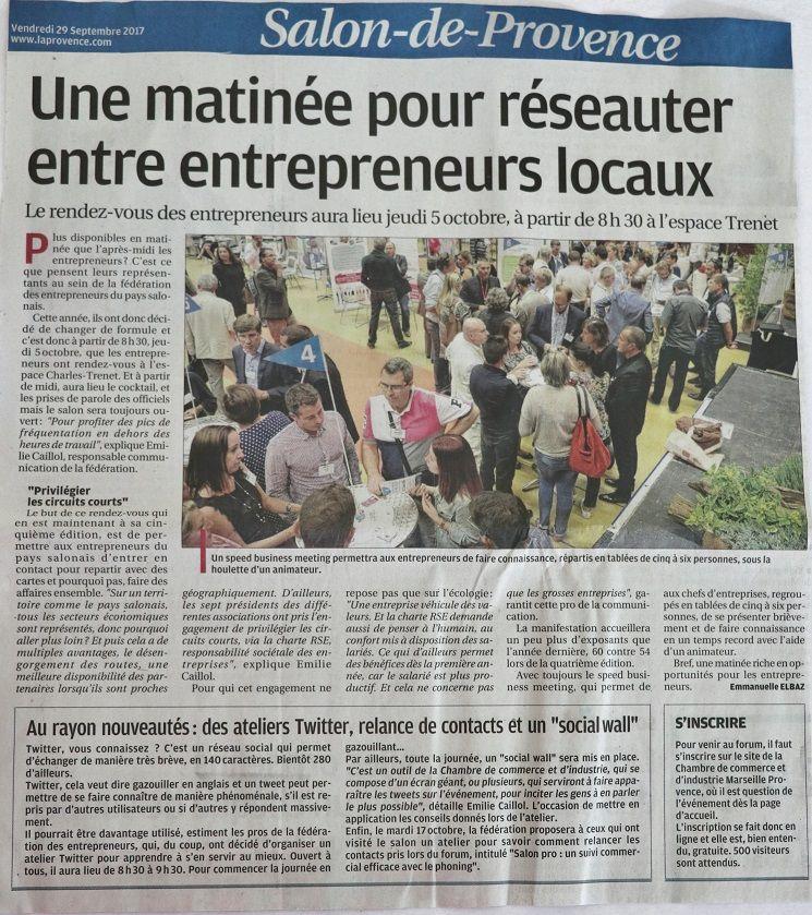 Fédération Des Entrepreneurs Du Pays Salonais RDV Des - Chambre de commerce salon de provence